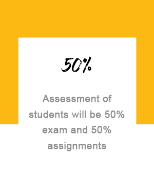 Assessment of students will be 50% exam and 50% assignments